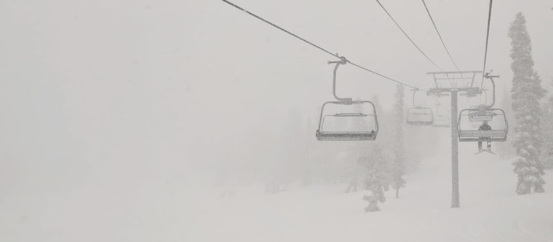 riding a chairlift