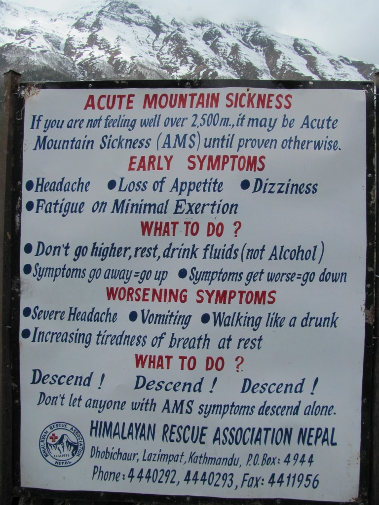 Sign showing risk of high altitude pulmonary edema