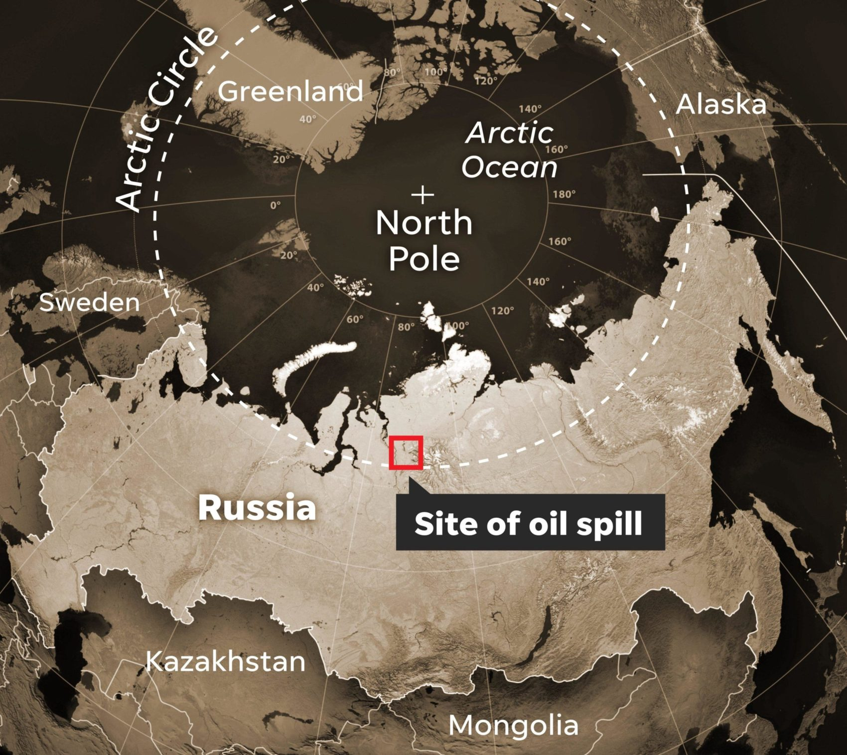 map depicts location of russian oil spill