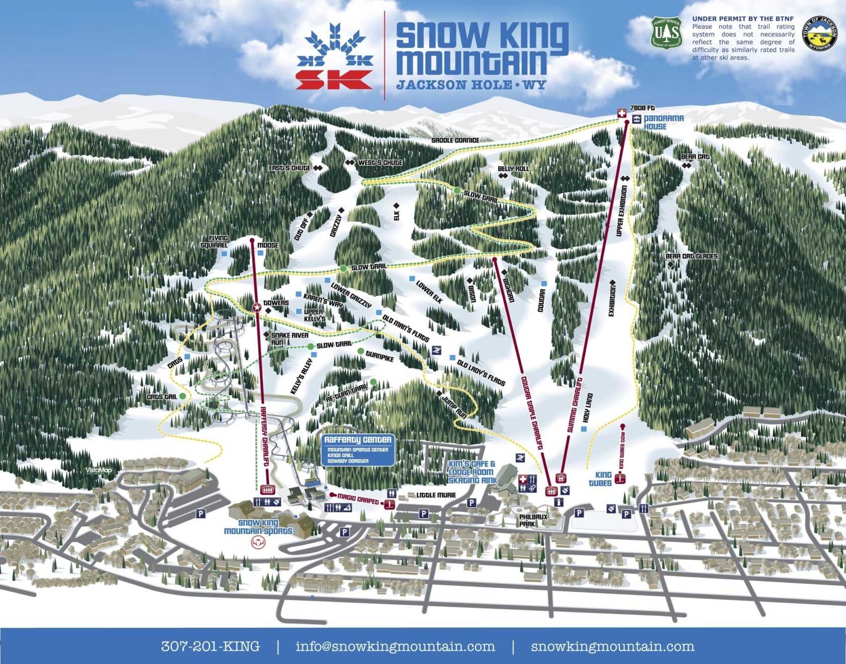 snow king, trail map
