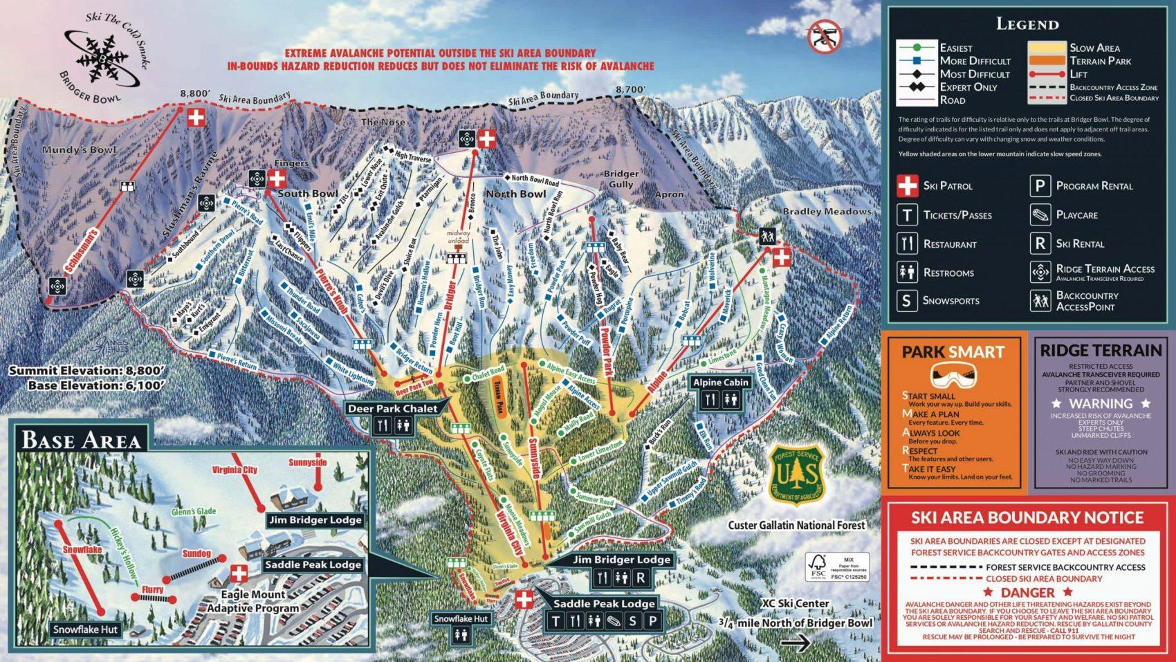 Bridger Bowl, trail map, Montana