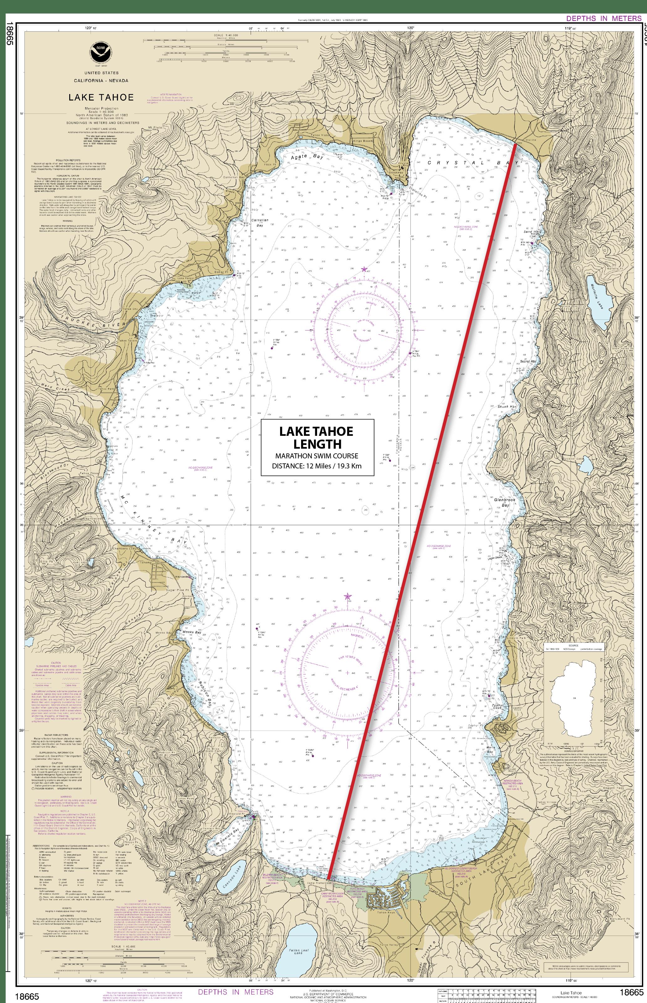 Lake Tahoe Length swim