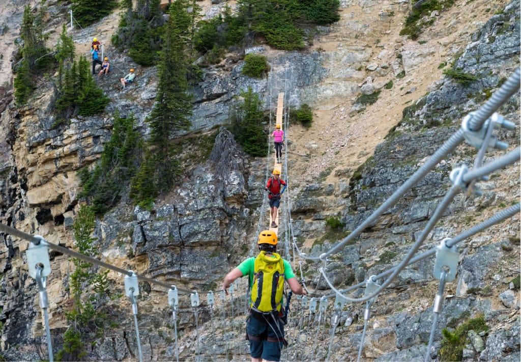 Via Ferrata rock climbing at Kicking Horse BC