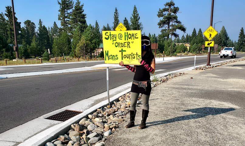 protest, Tahoe, California,