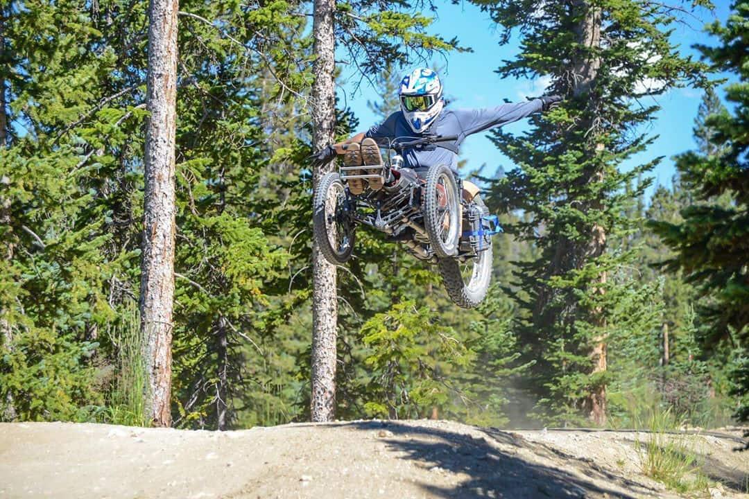 Trevor Kennison, sit-skier, mountain bike
