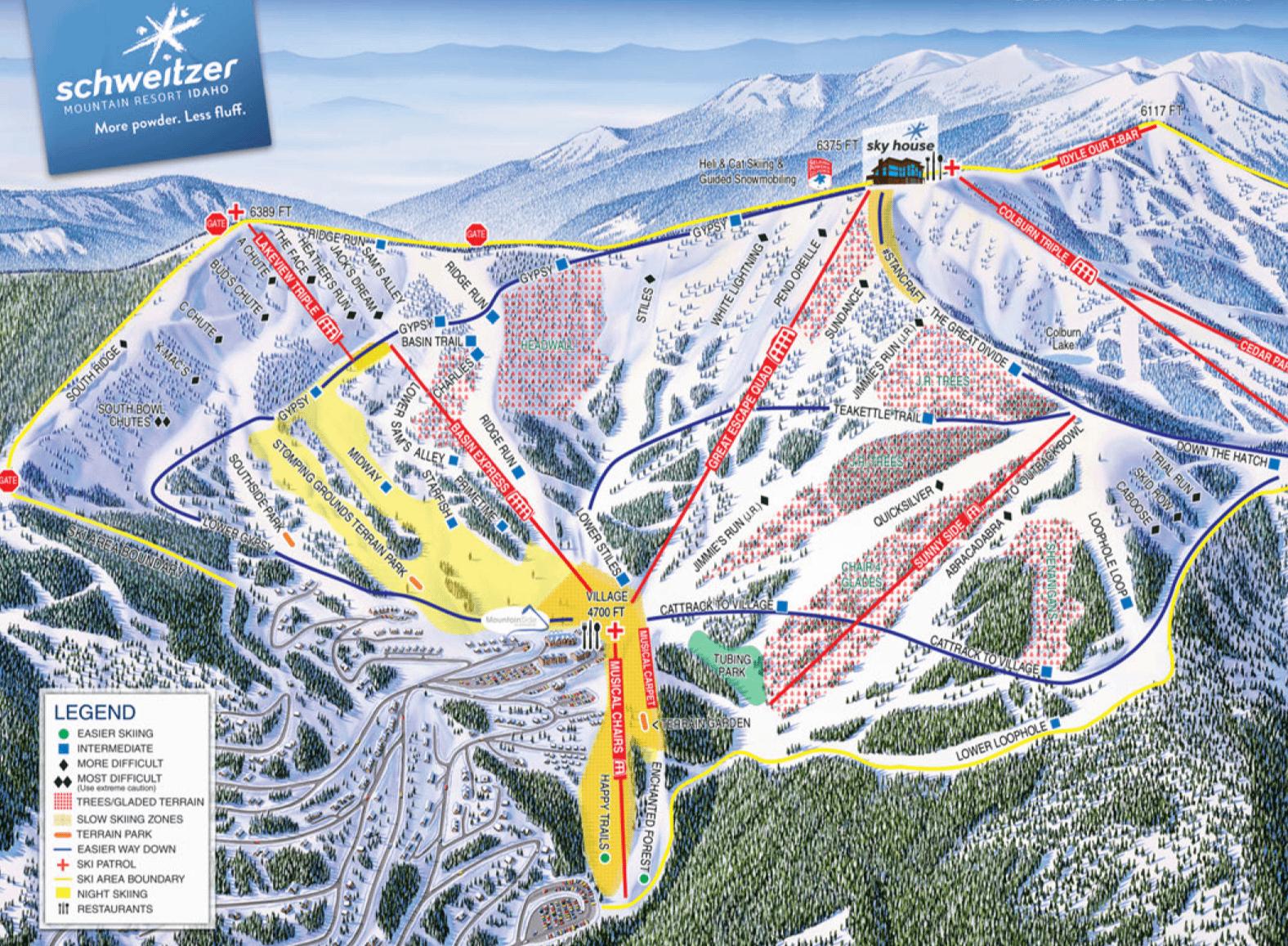 Schweitzer trail map, Idaho