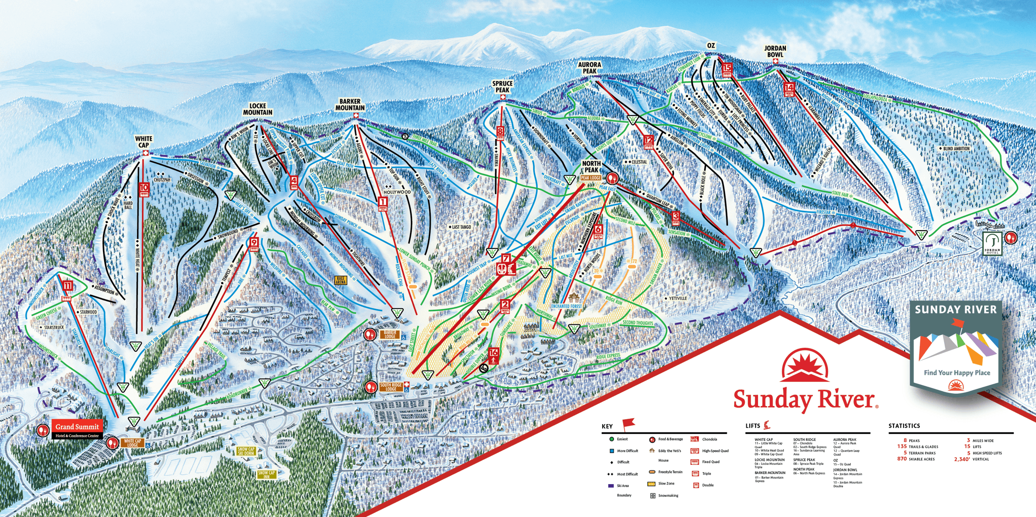 Sunday river, trail map, Maine
