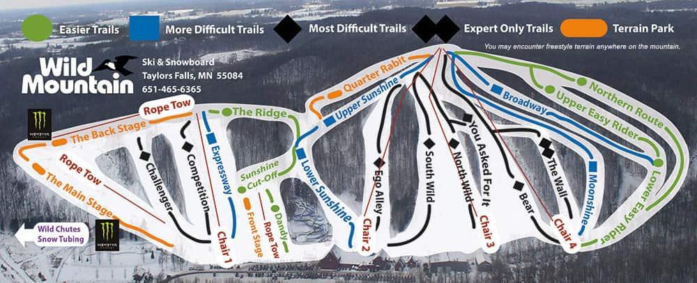 wild mountain, Minnesota, trail map
