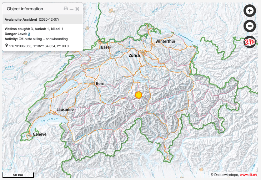 Location of avalanche accident