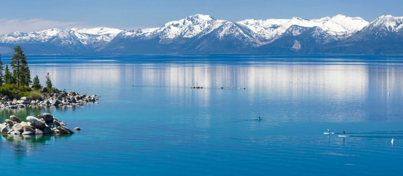 The clear water of lake tahoe