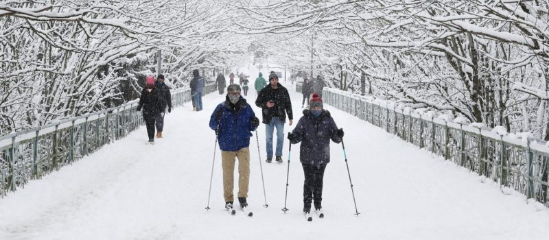 Residents ski the streets
