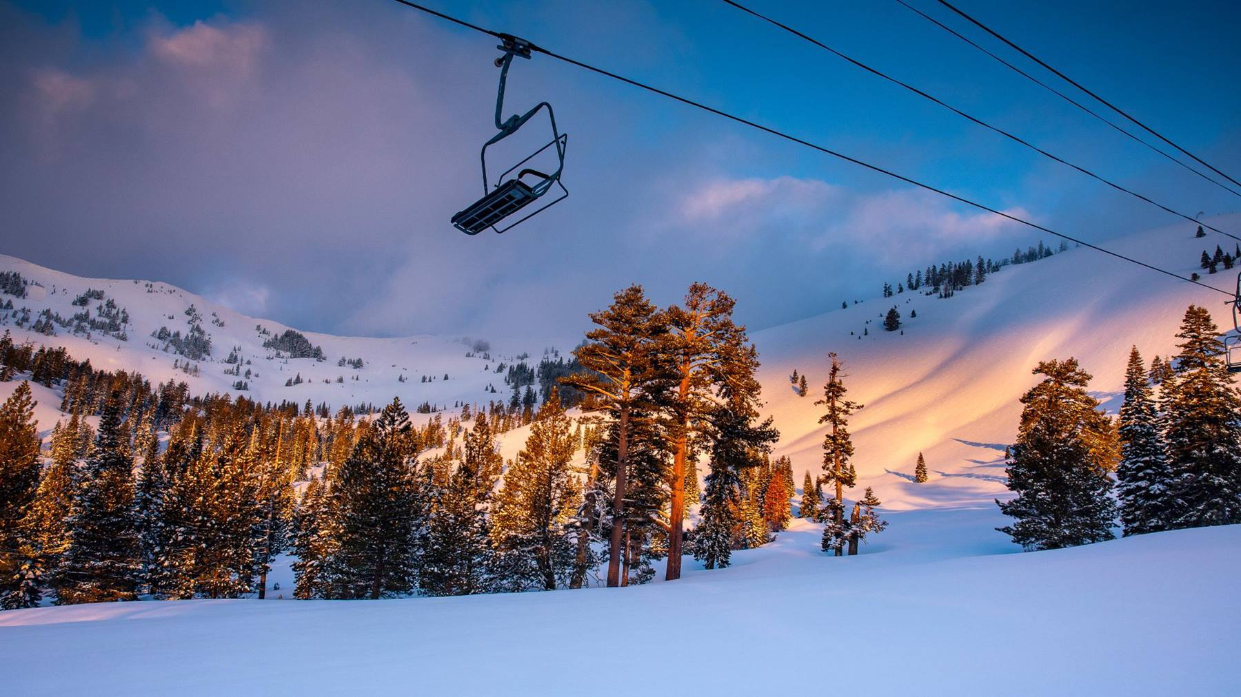 alpine meadows sherwood chairlift sunset