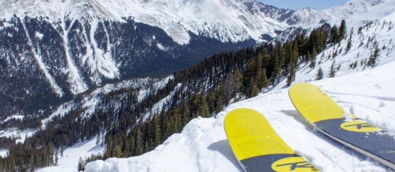 Skier overlooking valley