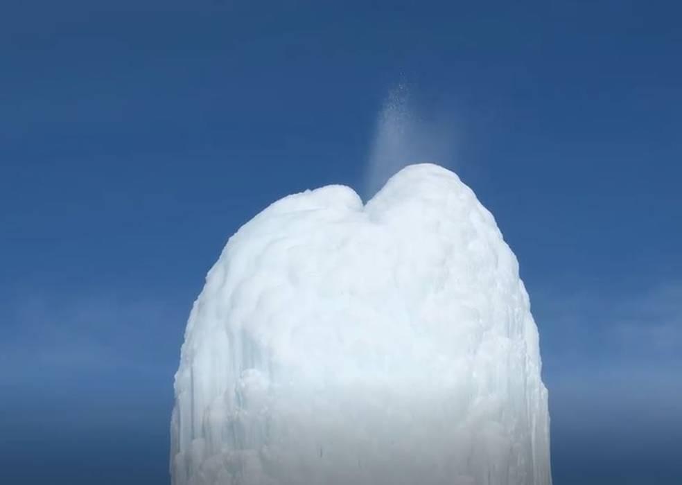 Ice Volcano Spraying In Kazakhstan
