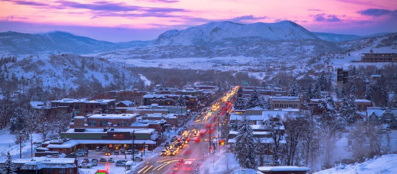 Winter Sunset In Steamboat Colorado