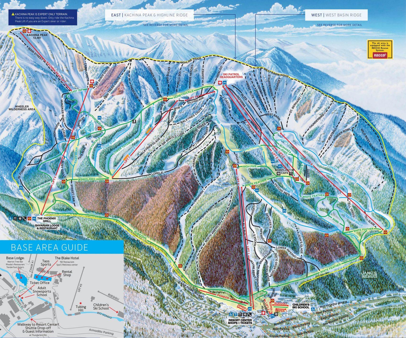 trail map showing Taos Ski Resort