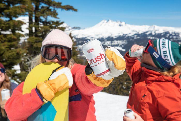Enjoying 10 barrel beer on the slopes