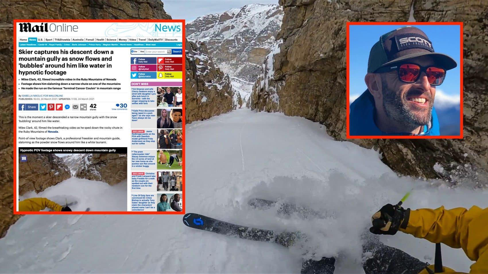 snowbrains, daily mail, mainline, Miles Clark, terminal cancer, couloir, ruby mountains, Nevada