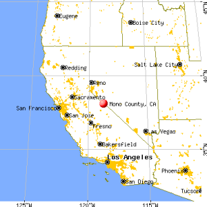 Map of California, with Mono County highlighted