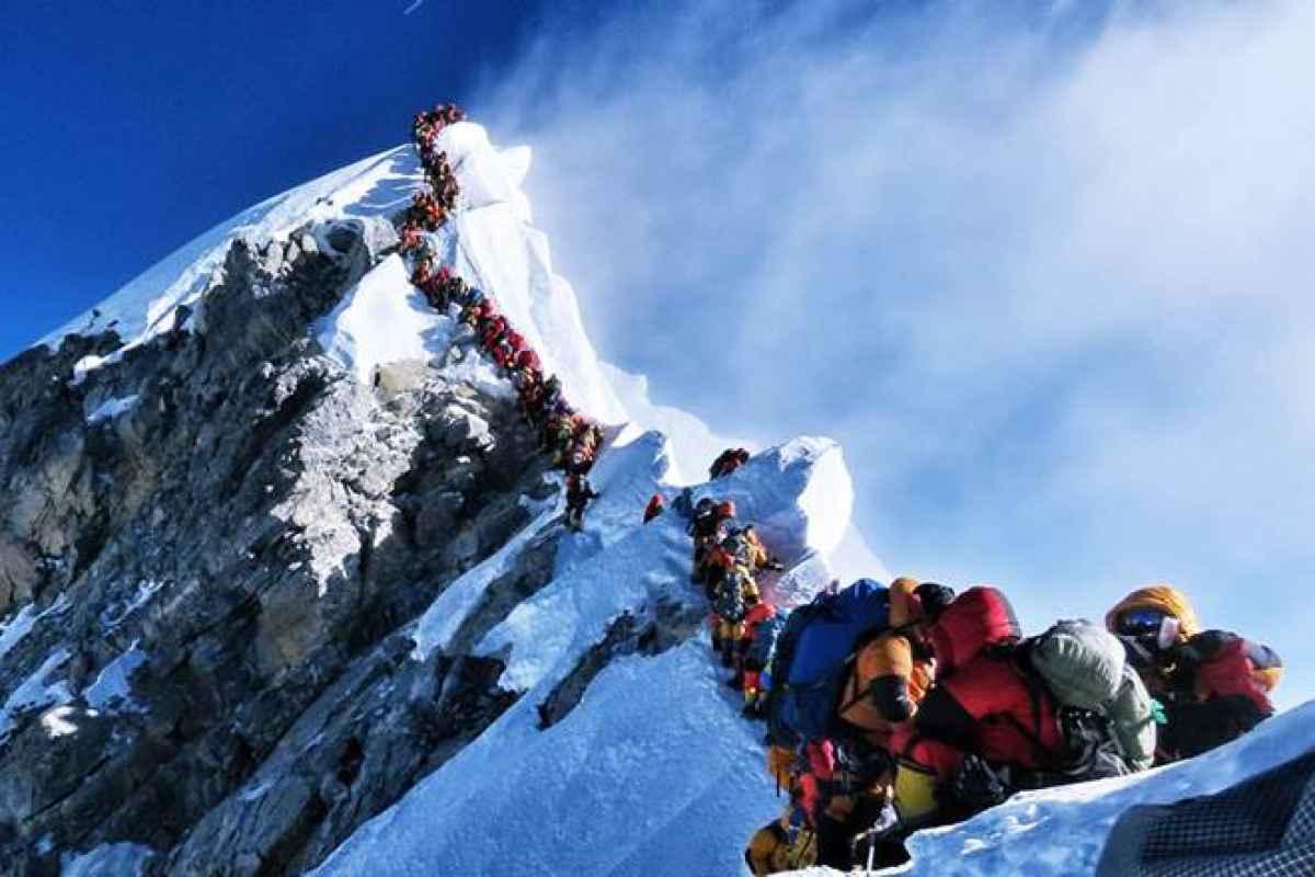 Climbers on The Summit Ridge of Everest