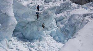 Everest Climbers Ascending the Khumbu Icefall