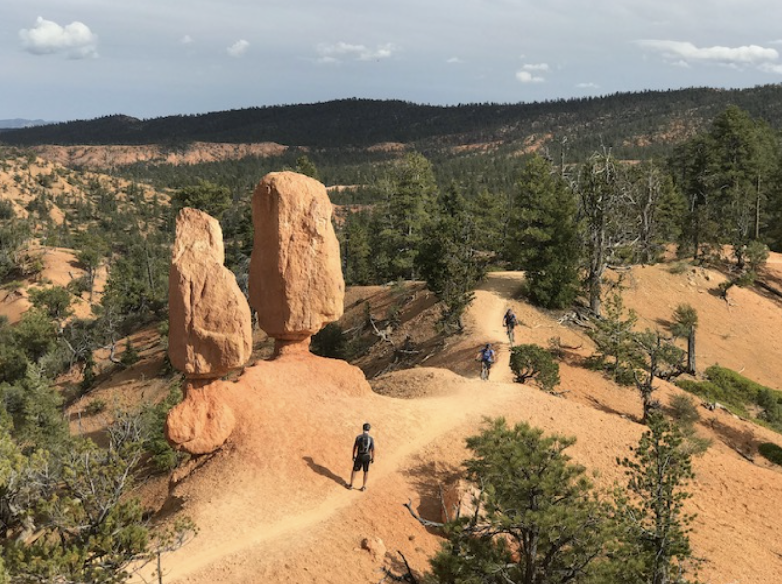 Biking among the rock formations of Utah