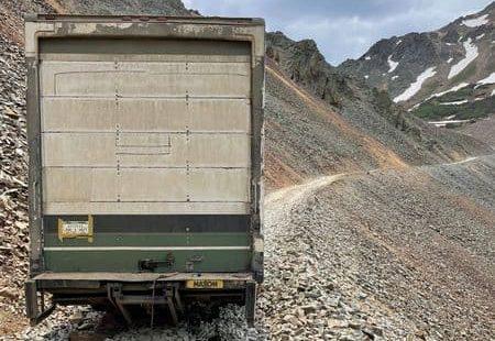 truck, stuck, mountain pass,