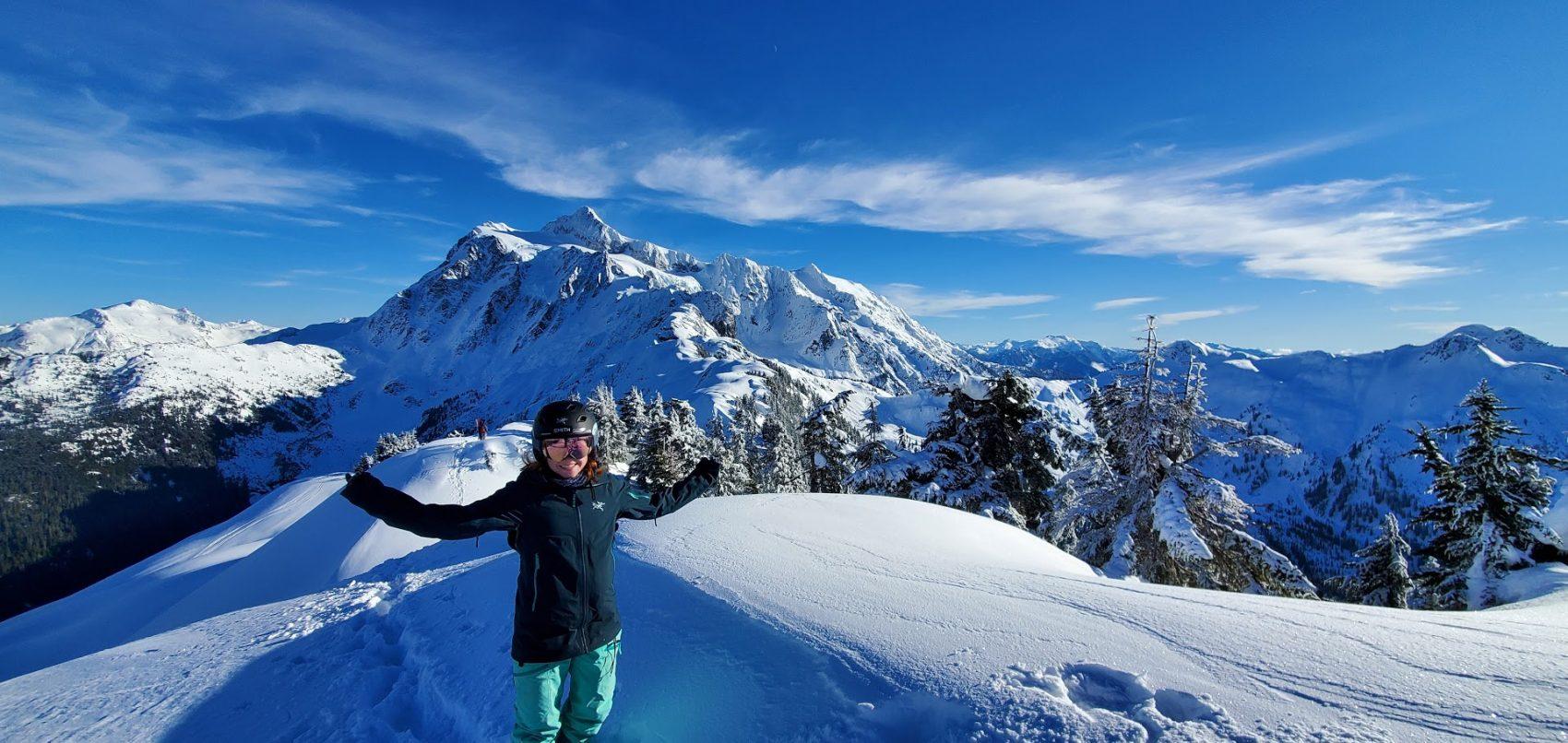 Mt. Shuksan and skier