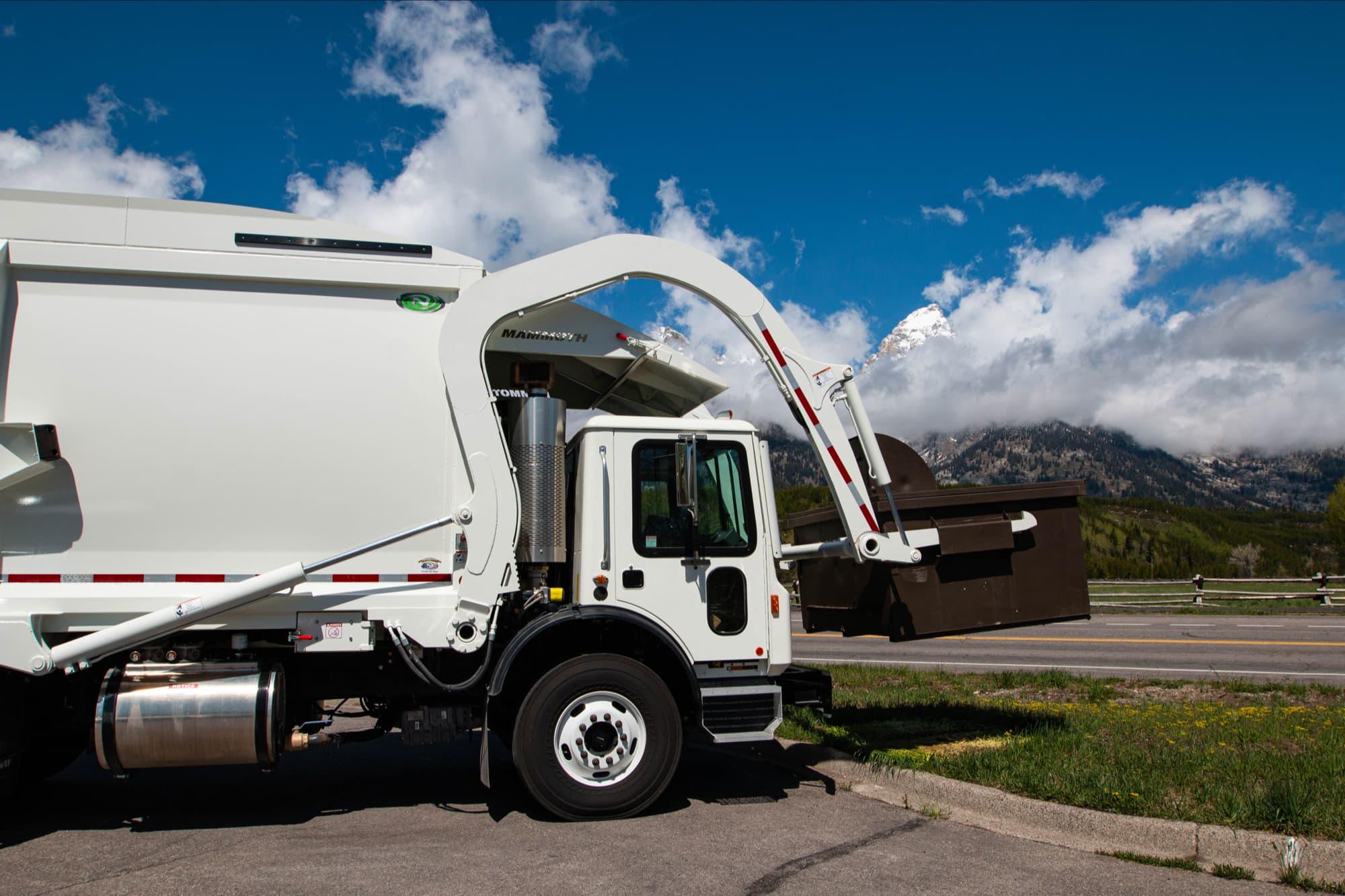 refuse truck, Grand Teton national park, Wyoming,