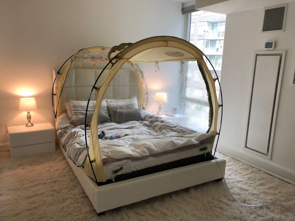 Hypoxico tent over bed