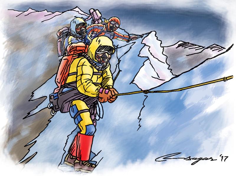 Mountain climbing illustration