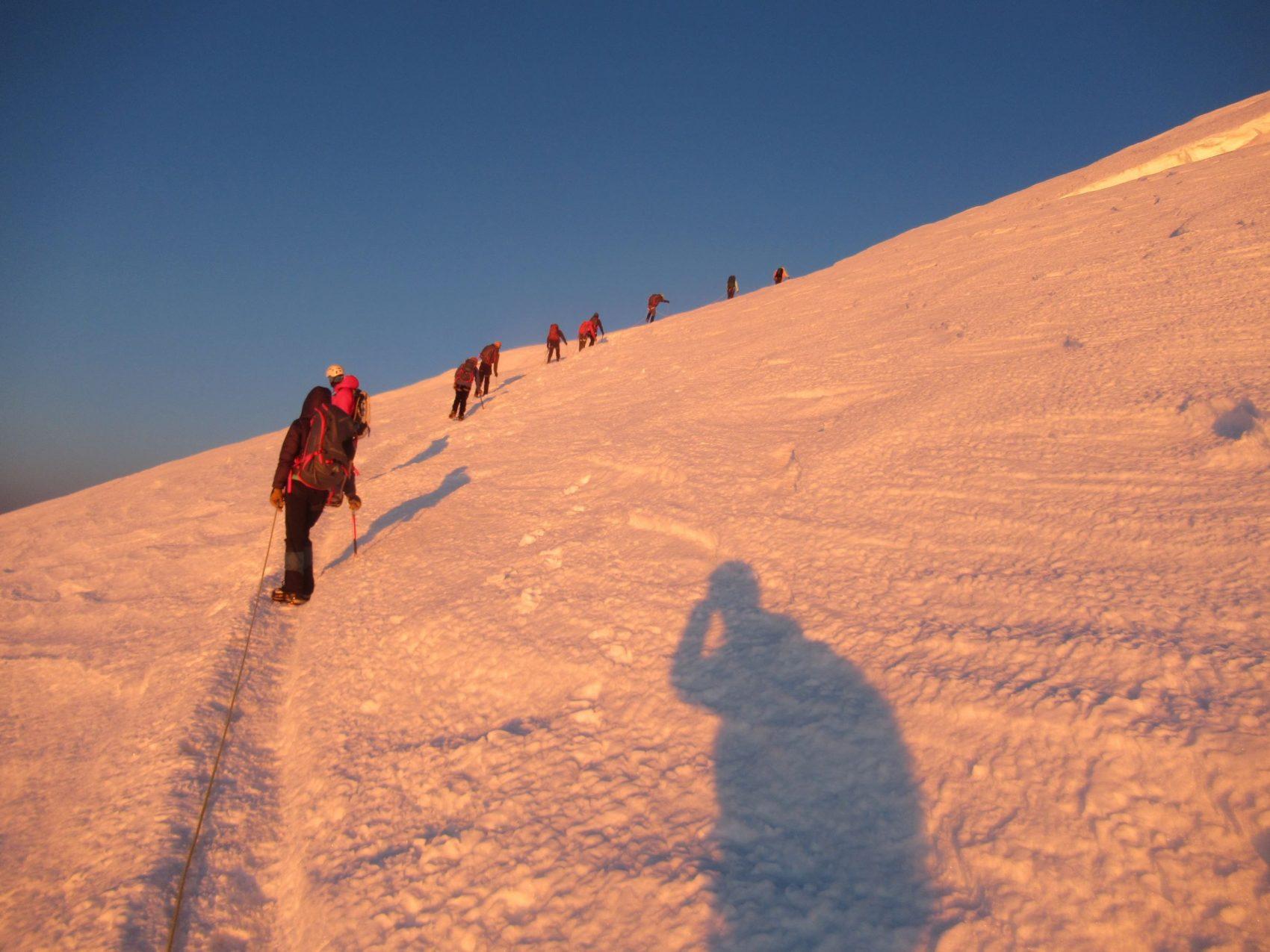 Climbers on mountain, rainier, washington,