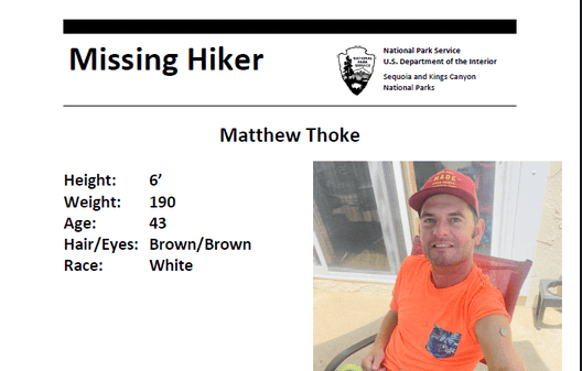 missing hiker, sequoia kings national park, california