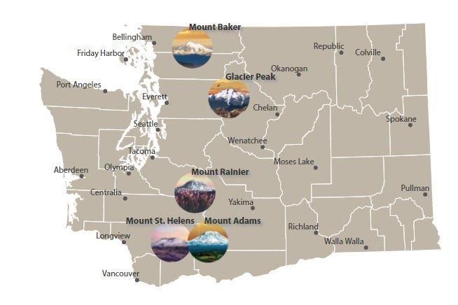 Map of Washington State, washington's 5 volcanoes