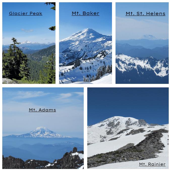 Collage of mountains, washington's 5 volcanoes