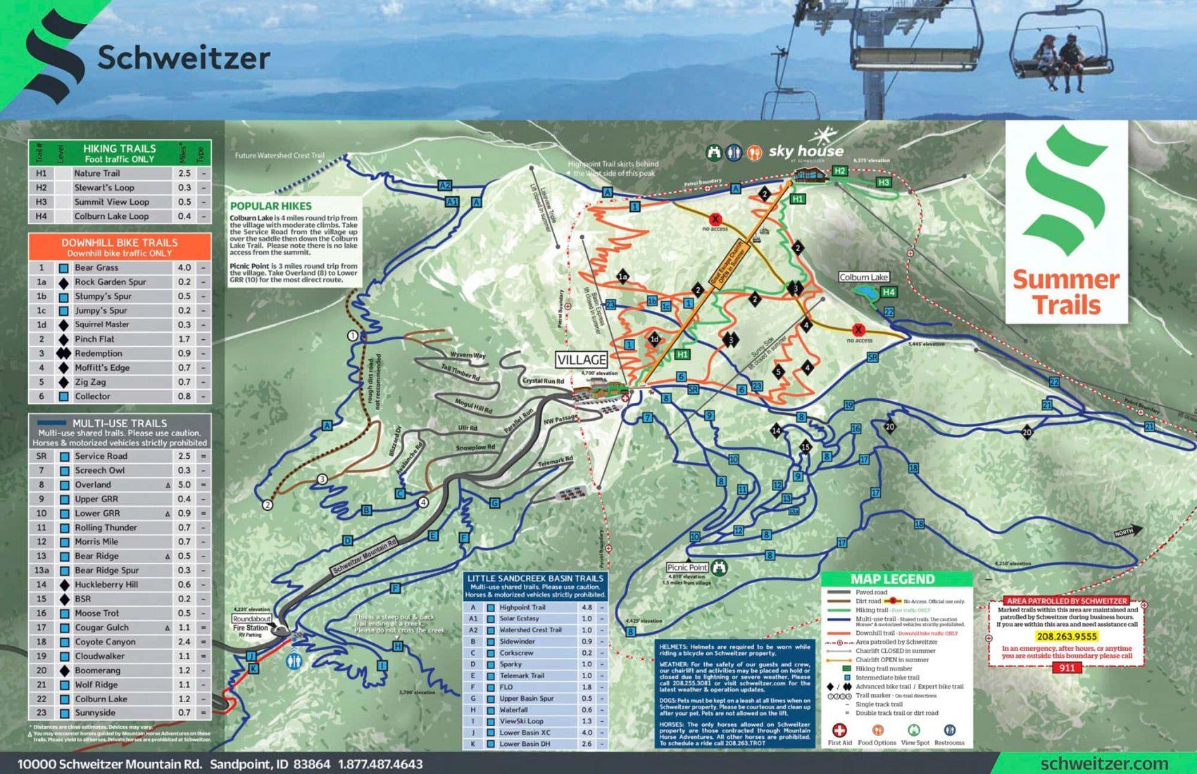 schweitzer, trail map, summer, Idaho