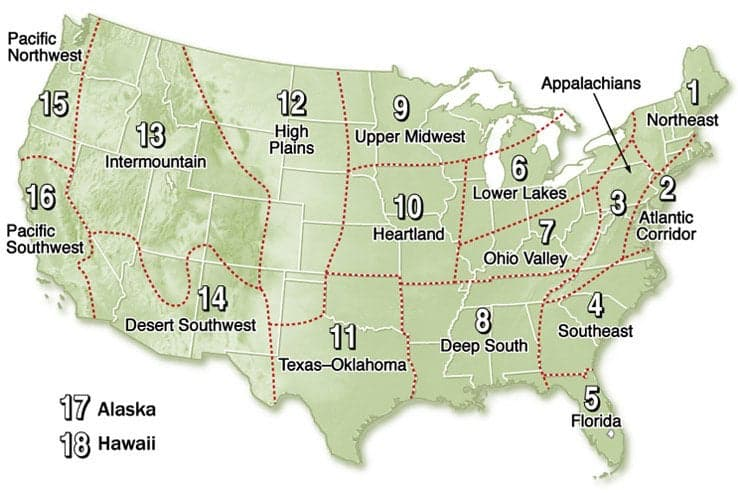 old farmer's almanac, regions, USA,