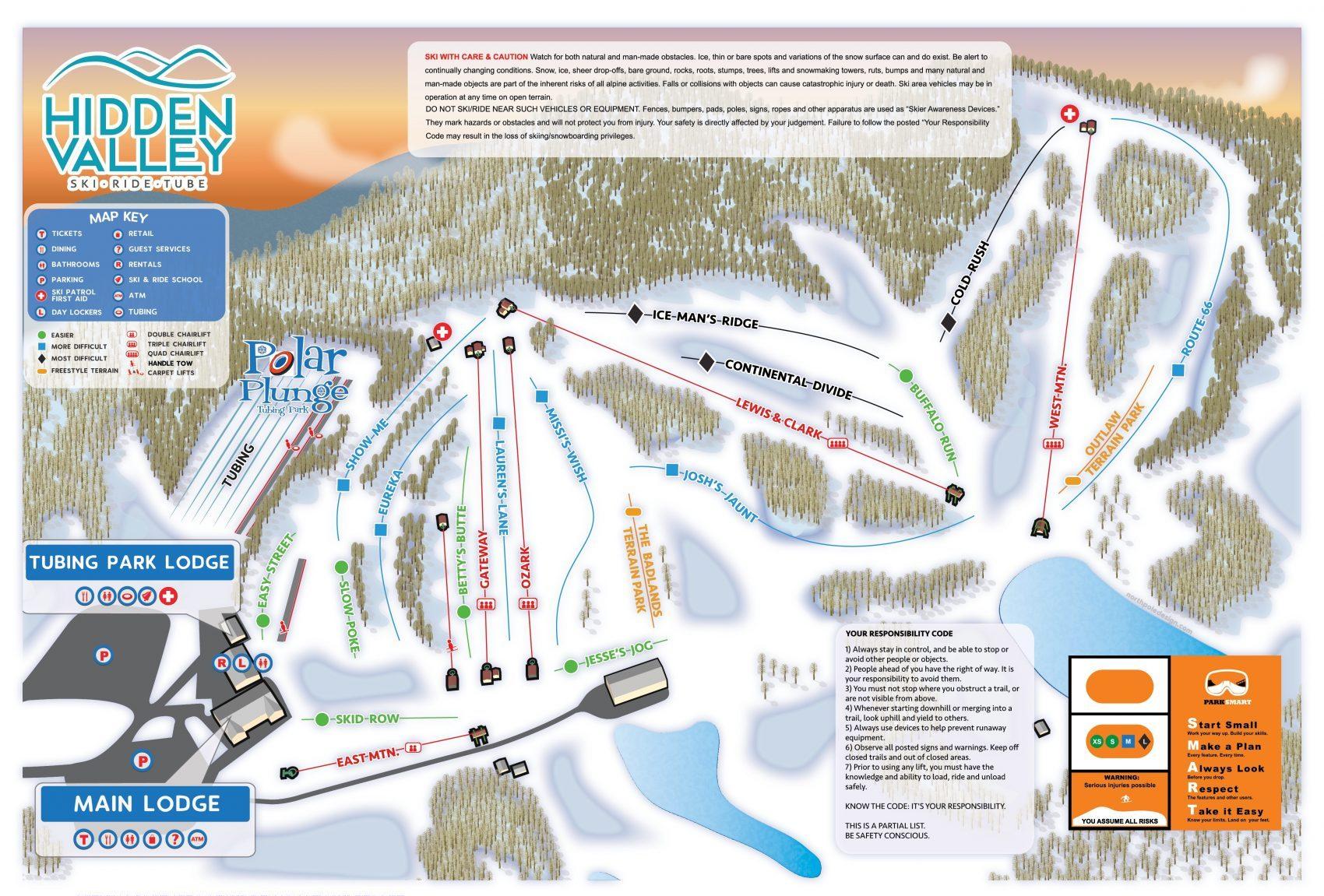 trail map, hidden valley, Missouri ski