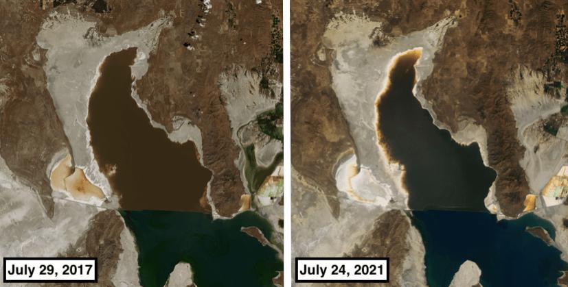 great salt lake, utah, drought, nasa,