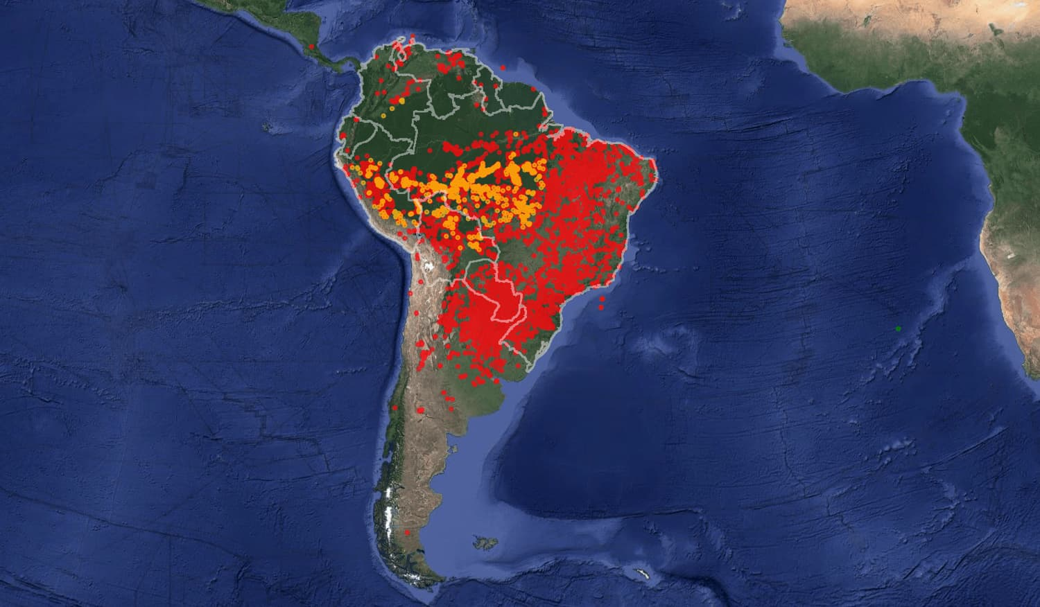 wildfires, South America
