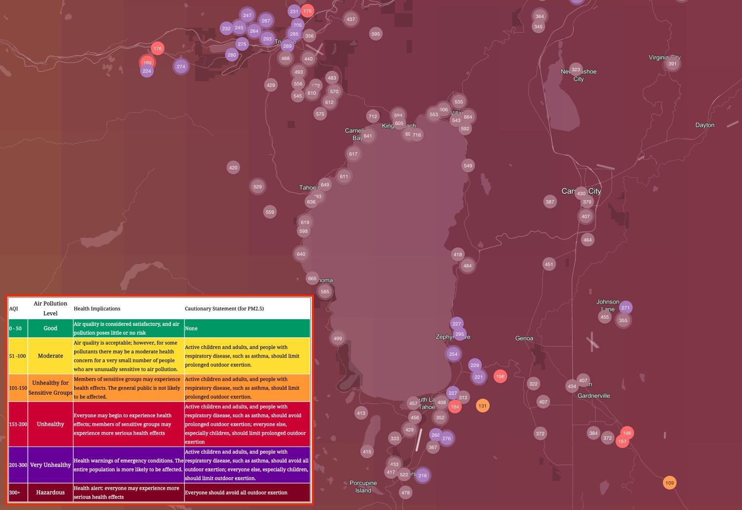 smoke, air quality, Lake Tahoe, california, Caldor Fire, wildfire,
