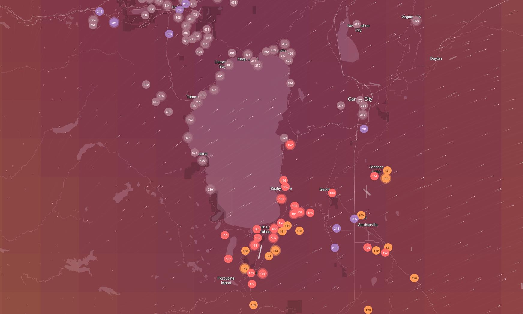 tahoe, california, smoke, wildfire, air quality,