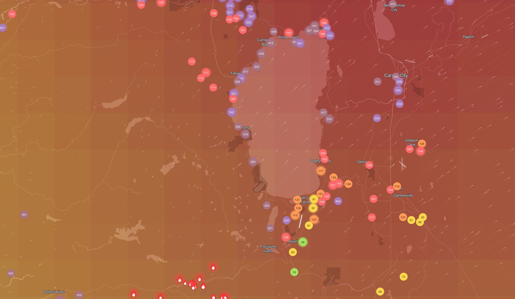 air quality, Lake Tahoe, california, Caldor fire