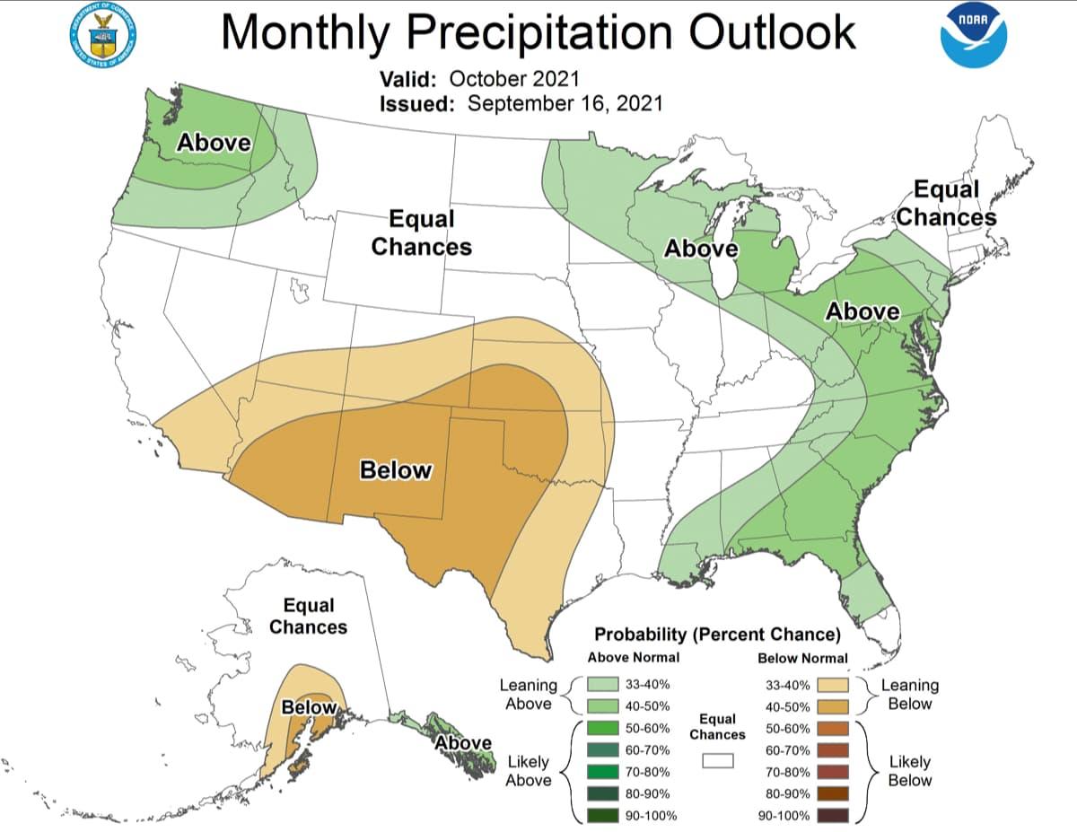 precipitation, outlook, October, NOAA