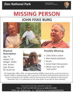missing hiker, Zion national park, utah